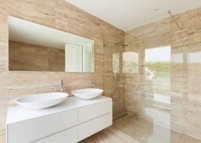 Glasbau Gerber Badezimmer 2 Waschbecken Walk-Inn